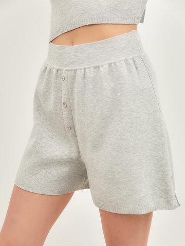 Женские шорты серого цвета из вискозы - фото 5