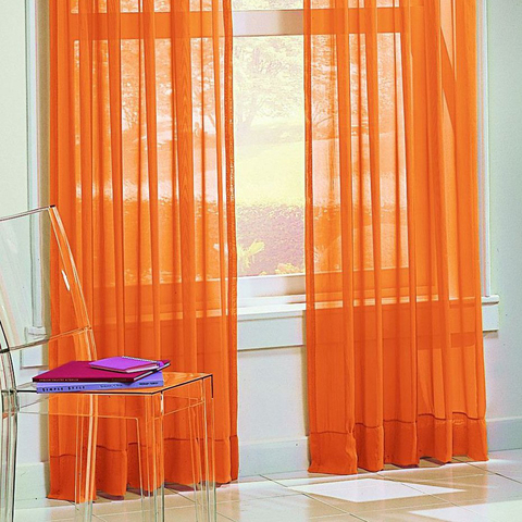 Готовый тюль однотонный Оранжевый. Ш-150/200/300/400/500 см., В-250/270 см. Арт. 3