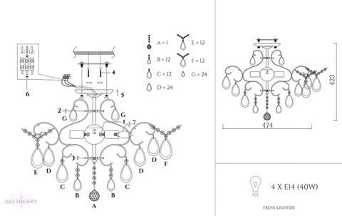 Люстра потолочная FR2302-CL-04-WG серии Chabrol