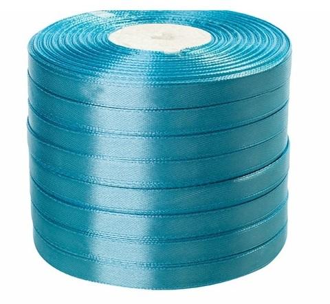 Лента атласная (размер: 10 мм х 50 ярд) Цвет: голубая