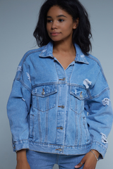 Джинсовая куртка с нашивками женская Nadya