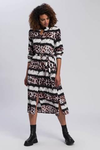 Marc Aurel Платье-рубашка в лео-узор и полосы