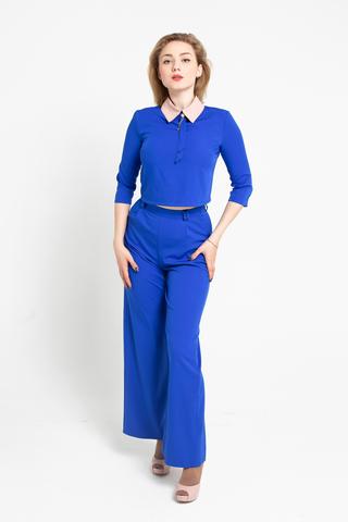 Брючный костюм двойка синий интернет магазин