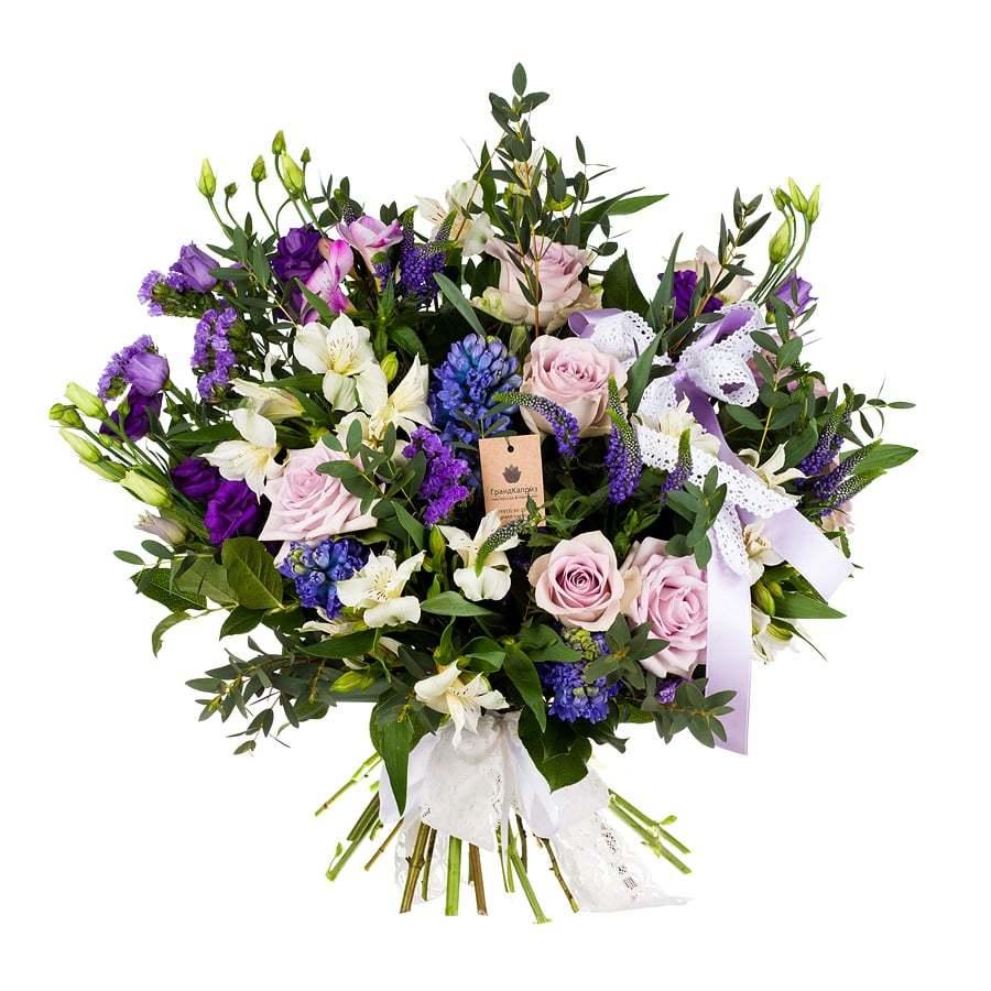 Букет из роз и гиацинтов - Нежное признание