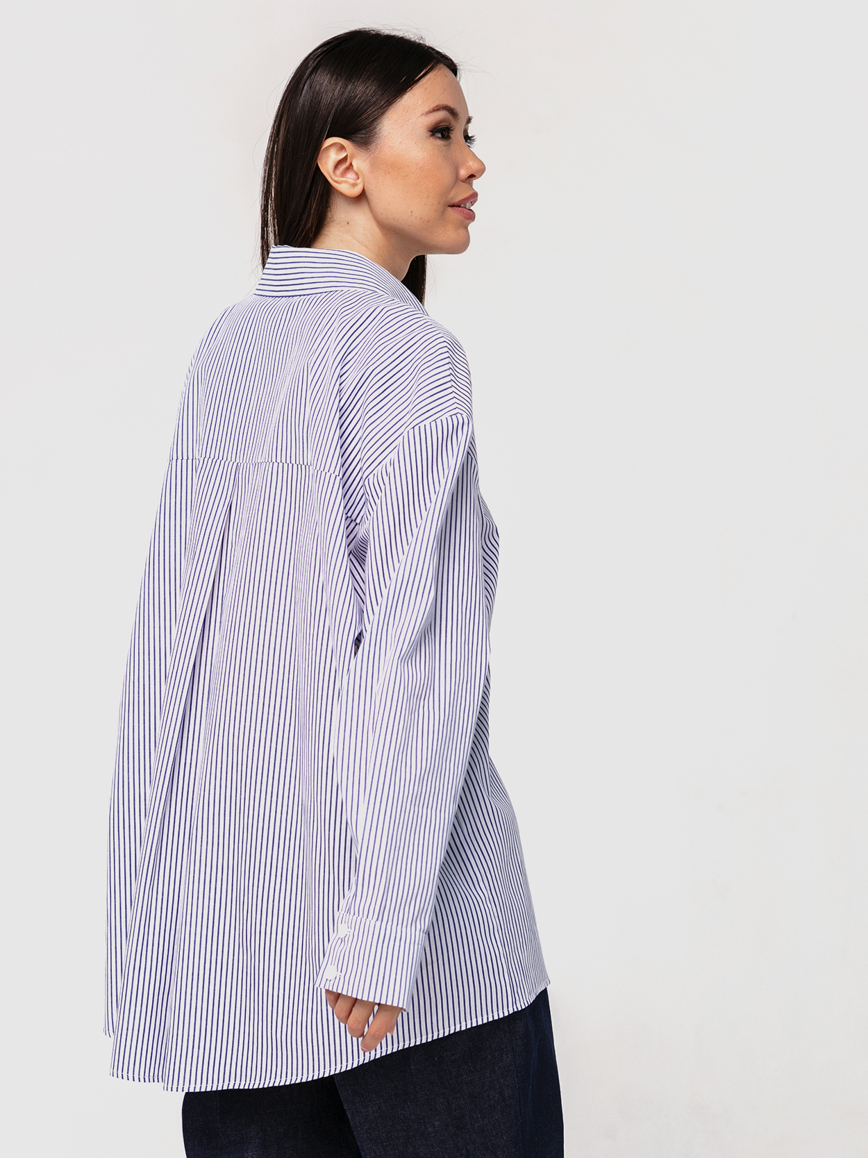 Хлопковая рубашка бойфренда в полоску с длинными рукавами YOS от украинского бренда Your Own Style