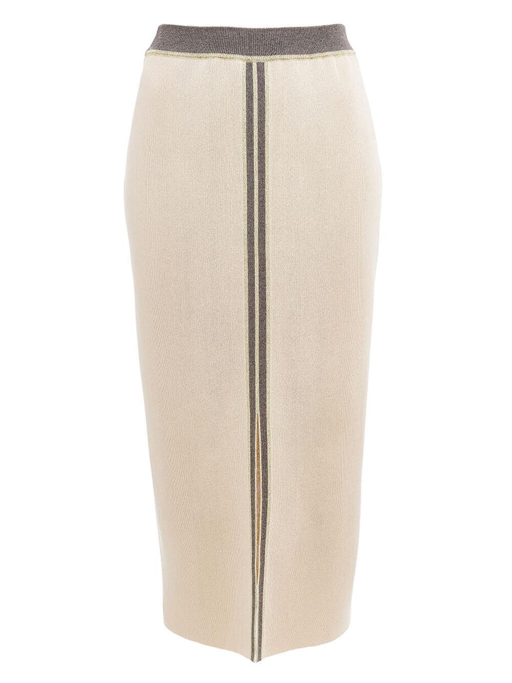Женская юбка бежевого цвета из вискозы с разрезом и контрастной полосой - фото 1