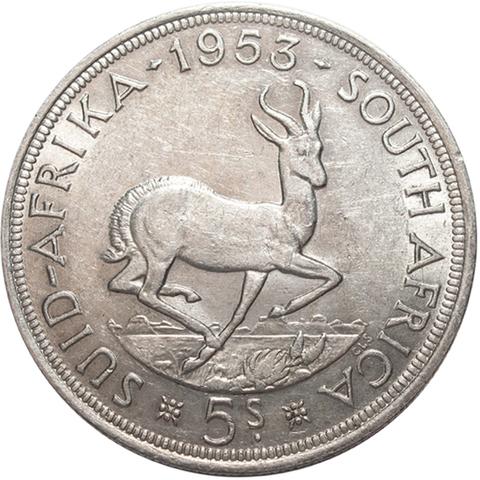 5 шиллингов. Южная Африка. Серебро. 1953 год. XF-AU