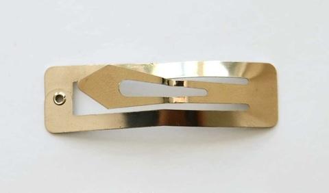 Основа-заколка для волос «Клик-клак» прямоугольная, 78х20мм, золотая.В 1уп-2шт (3037)