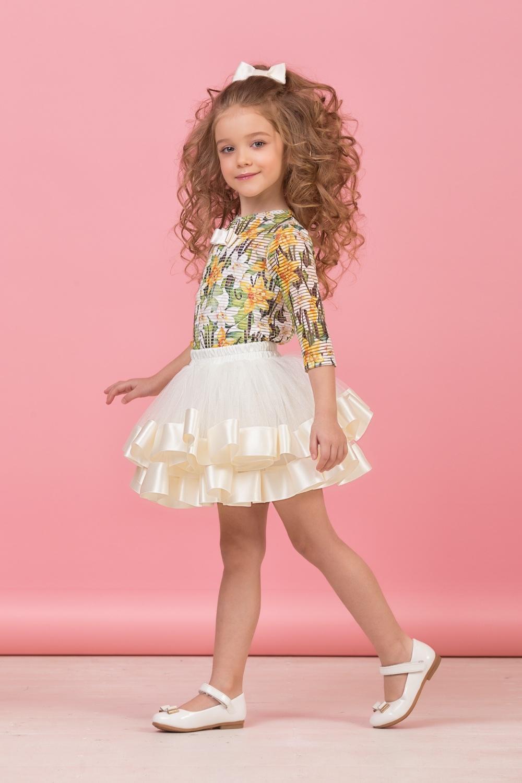 Комплект (блузка, майка, юбка) молочный для девочки 64-8004-3