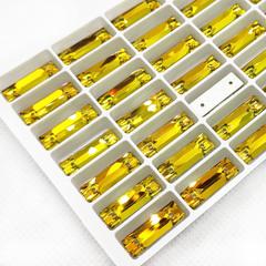 Купить пришивные стразы Cosmic Baguette палочки Topaz желтые недорого
