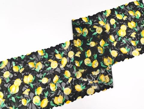 Эластичное кружево, ОПТ, 19,5 см, лимончики на черном, (Арт: EK-2265), м