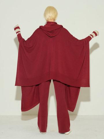 Женские брюки бордового цвета из 100% шерсти - фото 3