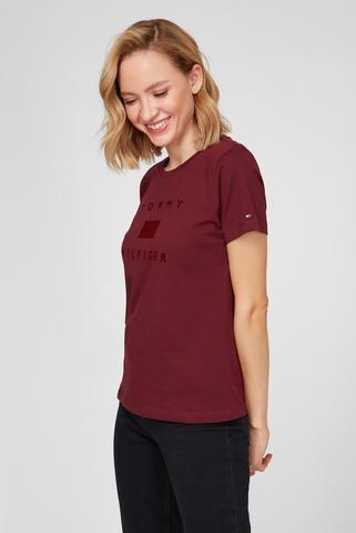 Женская бордовая футболка REGULAR FLOCK C-NK TEE SS Tommy Hilfiger