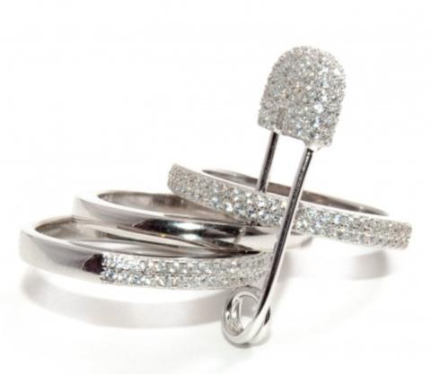 Тройное кольцо с булавкой  из серебра с фианитами