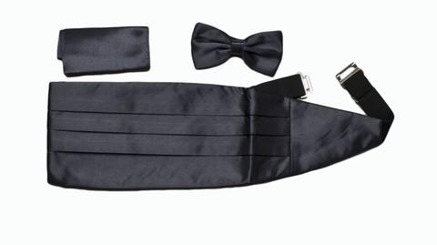 Камербанд (кушак, пояс) Max Cavalera для смокинга+бабочка+платок серый