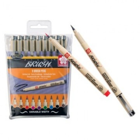 Ручка капиллярная - кисть Pigma brush 9 цветов