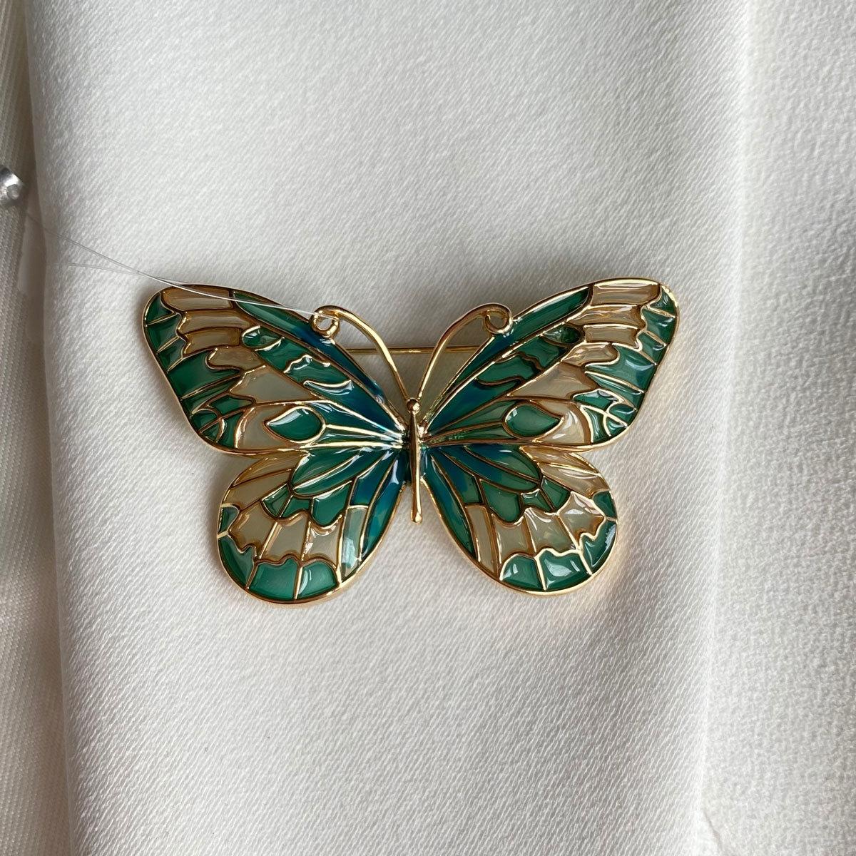 Брошь Бабочка прозрачные крылья зеленый