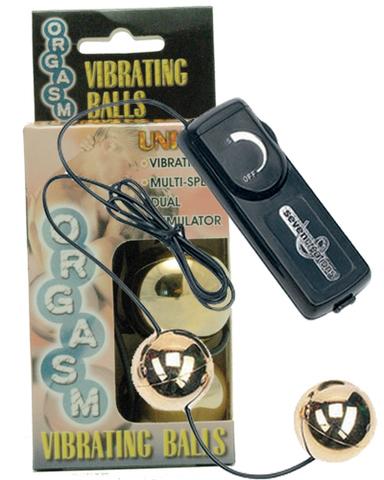 Вагинальные шарики с вибратором золотого цвета ORGASM VIBRATING BALL