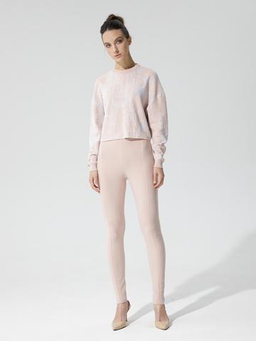 Женские брюки светло-розового цвета с рельефными полосками из вискозы - фото 2