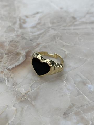 Кольцо Лавли из позолоченного серебра с черной эмалью