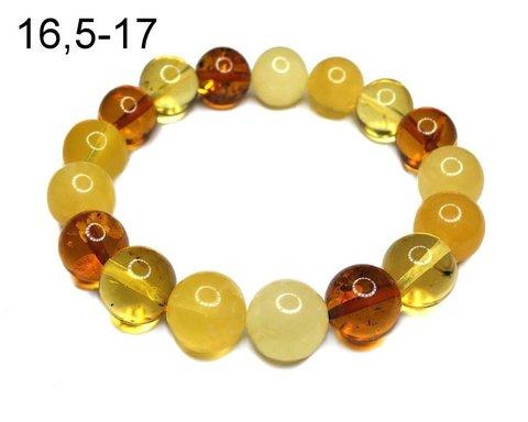 браслет из разноцветных крупных янтарных шаров
