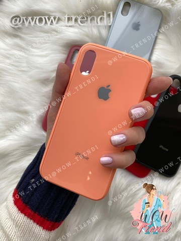 Чехол iPhone X/XS Glass Pastel color Logo /peach/