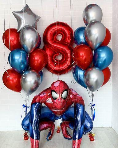 Сет воздушных шаров Человек-паук и шары Хром