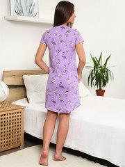 Мамаландия. Сорочка для беременных и кормящих с пуговицами короткий рукав, фламинго/сиреневый
