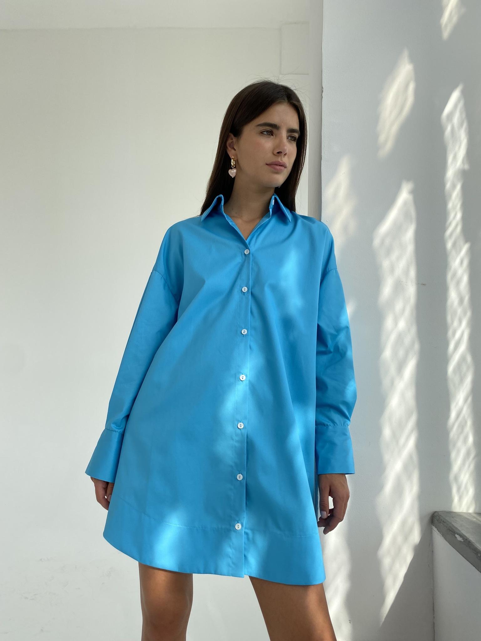 Платье-рубашка свободного кроя (ярко-голубой)