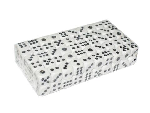 Кубик игровой №14. Цвет белый. Продажа упаковками. В упаковке 100 шт. 14#-Б