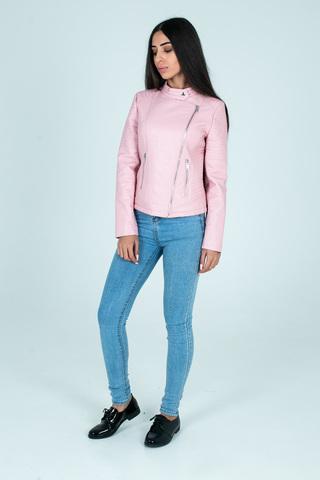 Куртка розовая кожаная косуха недорого