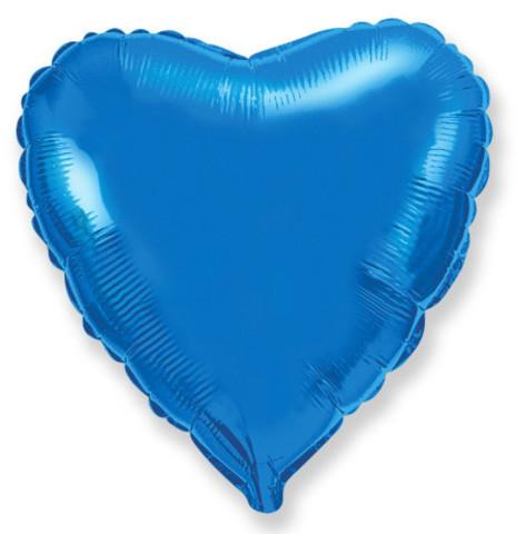 Воздушный шар сердце, синий, 81 см