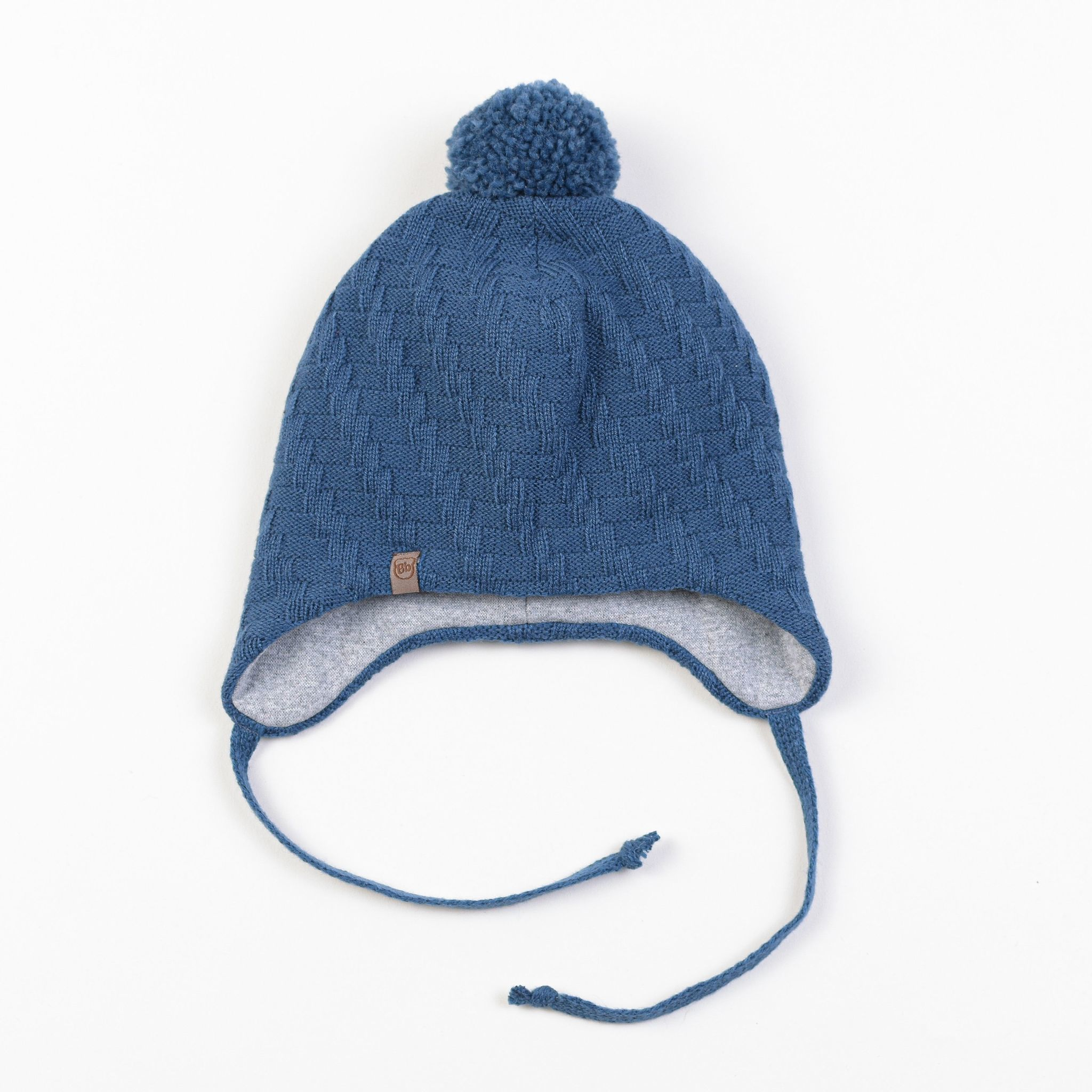 Winter hat with pompon and drawstrings 0+, Denim