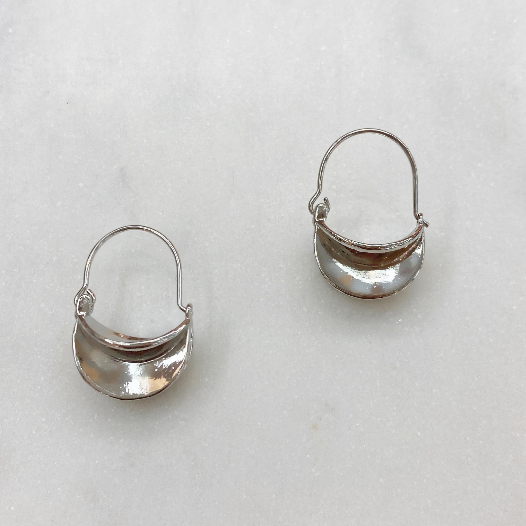 Серьги MIX изогнутые серебреные ш925
