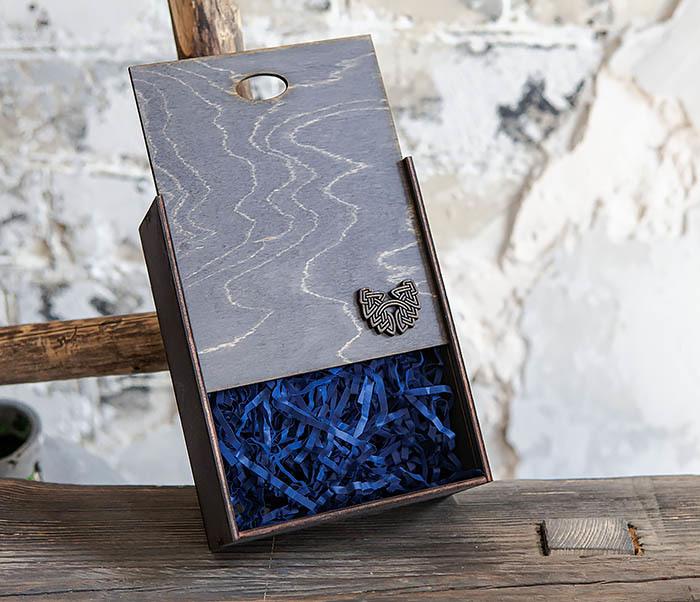 BOX231-1 Деревянная фирменная коробка формата А6 (19*15*6 см)