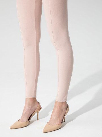 Женские брюки светло-розового цвета с рельефными полосками из вискозы - фото 6