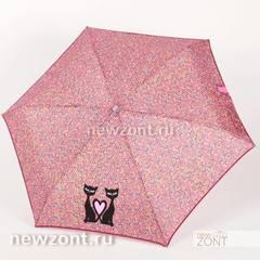 Плоский зонтик 5 сложений NEX с кошками и сердечками