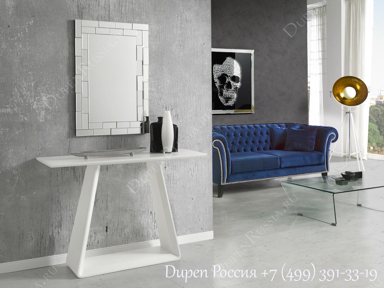 Консоль DUPEN CON-10 белая, Зеркало DUPEN E-116