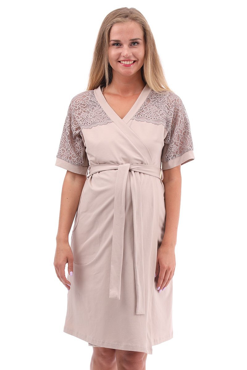 Комплект для беременных и кормящих с халатом и сорочкой 09914 кофейный