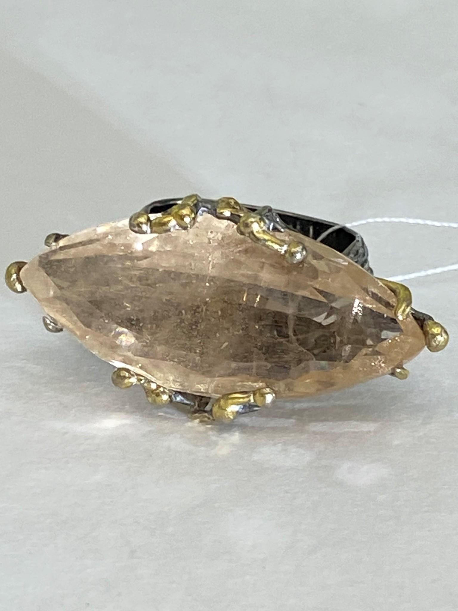 Габби-топаз (серебряное кольцо)