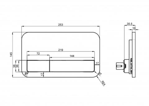 Смывная клавиша Villeroy & Boch E200 9224 90 61 (92249061) (хром глянцевый) схема