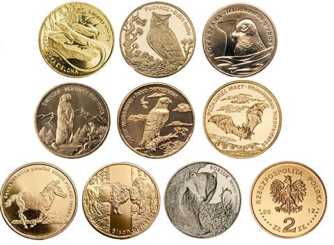 "Набор монет на тему ""Животные"" - 9 монет. 2005-2014 гг. UNC"