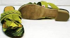 Летние шлепанцы женские босоножки на низком каблуке Marco Tozzi 2-27104-20 Green.