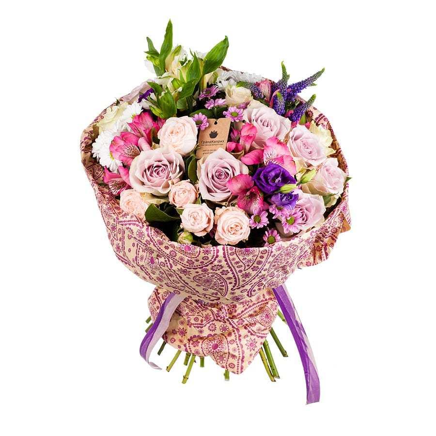 Букет из роз и хризантем - Воздушный поцелуй