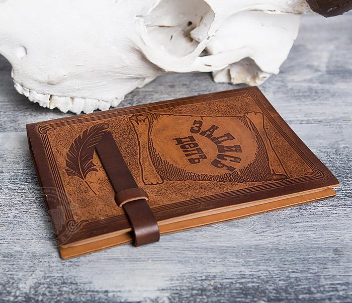 BY01-05-02 Прикольный кожаный блокнот «Запись Дел» со сменным блоком(А5) фото 03