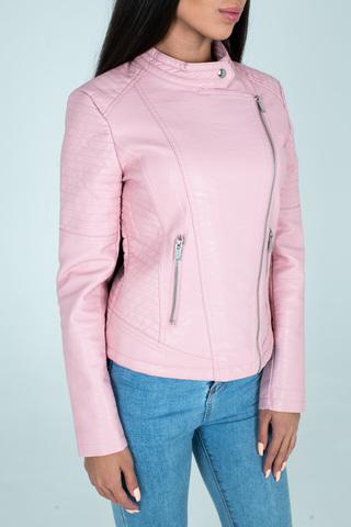 Куртка розовая кожаная косуха Nadya