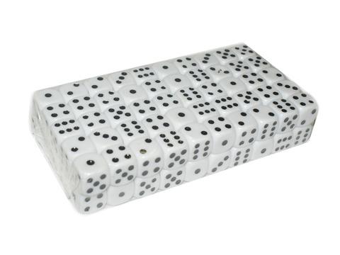 Кубик игровой №16. Цвет белый. Продажа упаковками. В упаковке 100 шт. 16#-Б