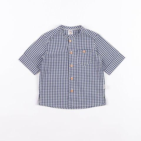 Checked cotton shirt - Deep Blue