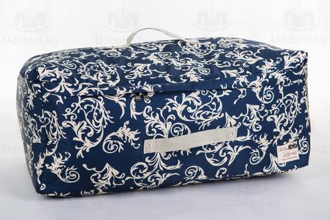 Мягкий большой кофр для объемных вещей, XL, 63*48*28 см (темно-синий с узорами)