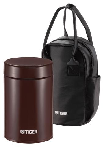 Термос для еды Tiger MCJ-A (0,75 литра) в сумке, коричневый